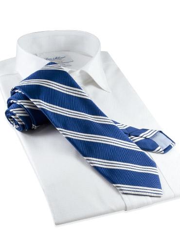Silk Triple Bar Stripe Tie in Navy