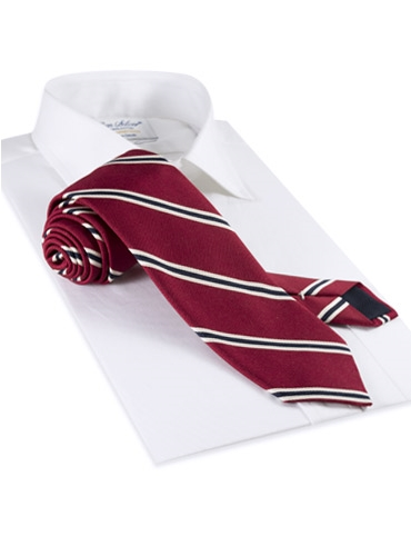 Mogador Woven Stripe Tie in Ruby