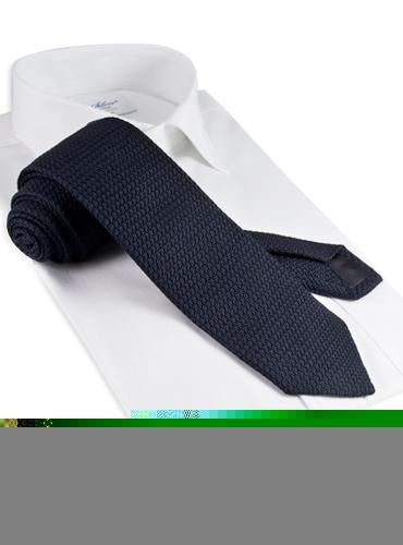 Silk Woven Grenadine Tie in Navy