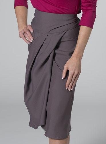 Marie Meunier Silk Croisée Skirt in Mauve