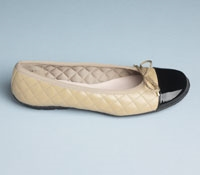 Quilted Flats in Beige with Black Patent Toe