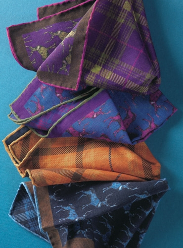 Wool Reversible Elk and Plaid Printed Pocket Square