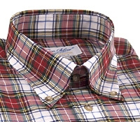 White, Red, and Green Plaid Button Down