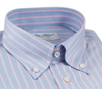 Blue Oxford Button Down with Pink Stripe