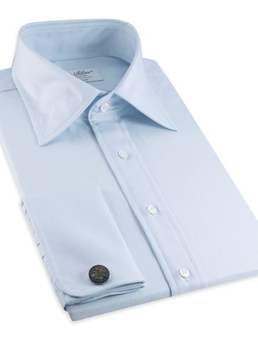 Classic Blue Twill Kelly Collar with French Cuffs