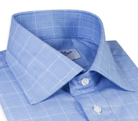 Sky and White Glen Plaid Spread Collar with White Windowpane