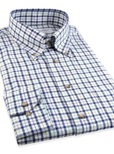 Brushed Cotton Plaid Button Down in Blue