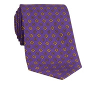 Silk Printed Tie With Flower and Diamond Motif in Purple