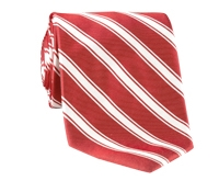 Silk Woven Double Stripe Tie in Brick