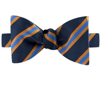Mogador Silk Stripe Bow Tie in Navy and Cornflower