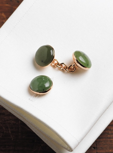 Rose Gold Jade Cufflinks