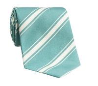 Silk Woven Double Stripe Tie in Aqua
