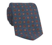 Wool Printed Medallion Motif Tie in Navy