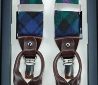 Green & Purple Plaid Wool Braces