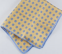 Silk Printed Pocket Square in Yellow/Blue