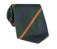 Silk Multi-Color Bar Stripe Tie in Forest