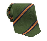 Silk Woven Stripe Tie in Leaf and Saffron