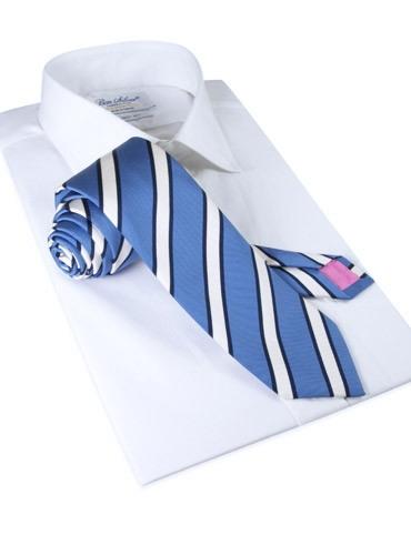 Mogador Silk Stripe Tie in Cornflower