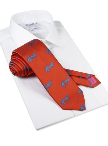 Silk Woven Lab Motif Tie in Tangerine