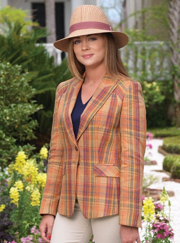 Tan, Red, Blue, and Yellow Plaid Linen Jacket