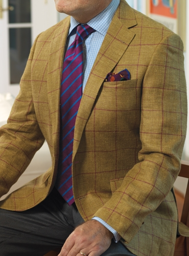 Tobacco Silk & Linen Sport Coat with Burgundy Windowpane