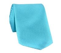 Silk Herringbone Printed Tie in Teal