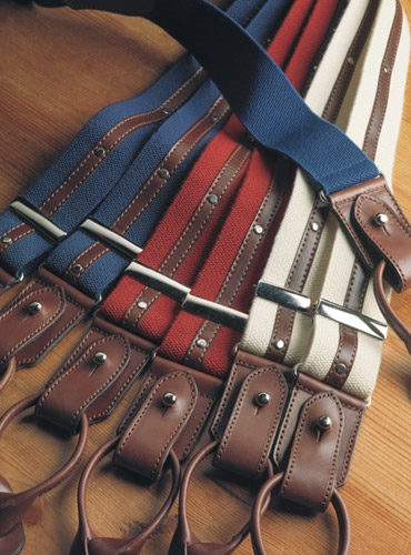 Cloth Braces with Brown Leather