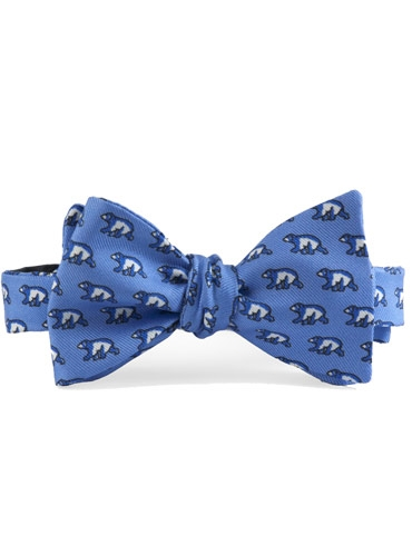 Silk Print Polar Bear Bow in Cobalt