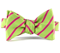 Mogador Bar Stripe Bow in Lime