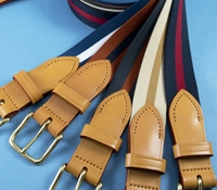Stripe Belts with Leather Tabs and Leather Keepers, Size 36