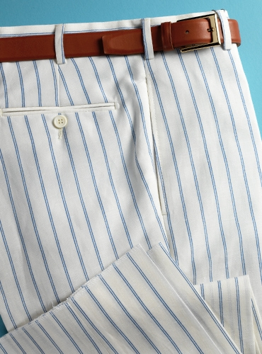 White Wool & Linen Trousers with Double Hairline Stripe in Cobalt