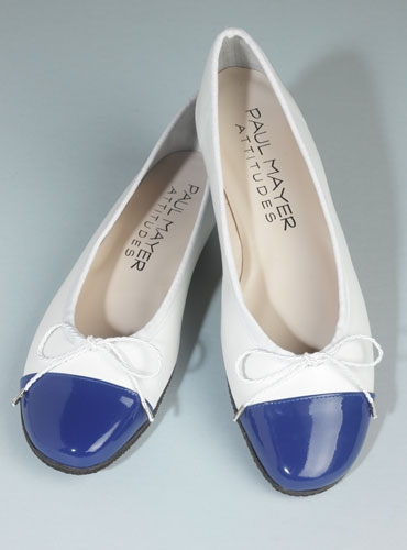 Contrast Toe White and Blue Flats