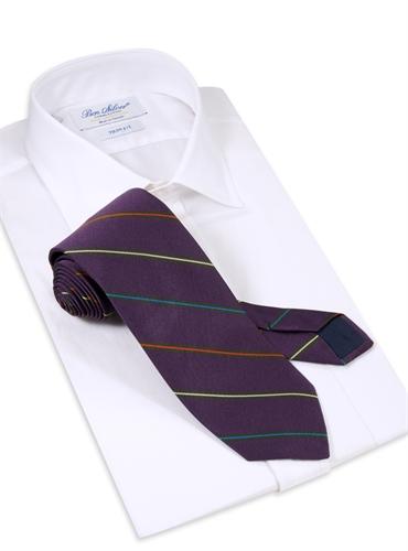 Silk Woven Multi-Stripe Tie in Plum
