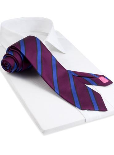 Silk Stripe Tie in Magenta