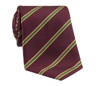 Silk Stripe Tie in Wine and Kelly Green