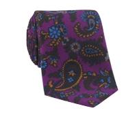 Wool Print Paisley Tie in Plum