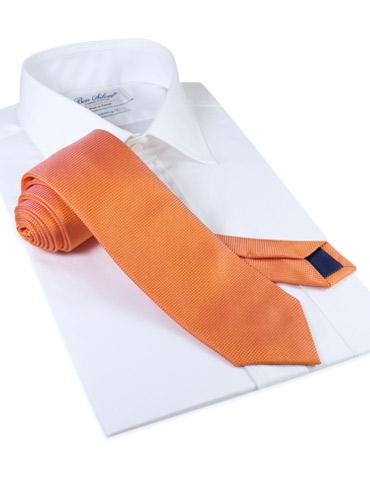 Silk Basketweave Solid Tie in Tangerine