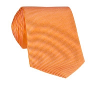 Silk Basketweave Solid Tie in Tangerine
