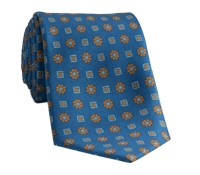 Silk Neat Motif Tie in Atlantic