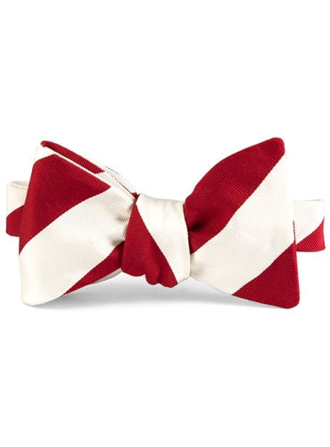 Mogador Silk Stripe Bow in Red
