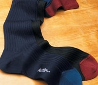 Wool Ribbed Two-Toned Socks