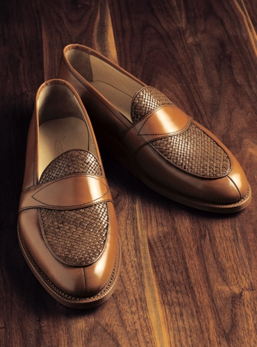 The Savannah Loafer in Whiskey Leather with Woven Upper
