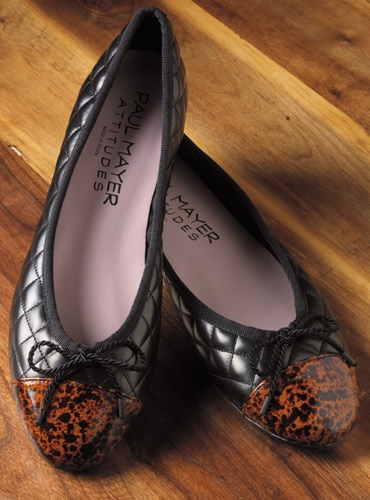 Quilted Flats with Patent Tortoise Toe in Black