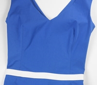Cotton V-neck Sheath Dress in Blue