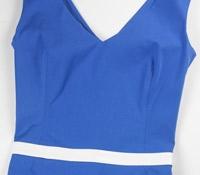 Cotton V-neck Sheath Dress in Blue