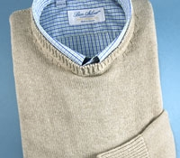 Cotton Cashmere and Silk Crew Neck Sweater in Barley