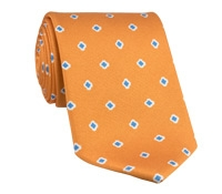 Silk Printed Clover Motif Tie in Apricot