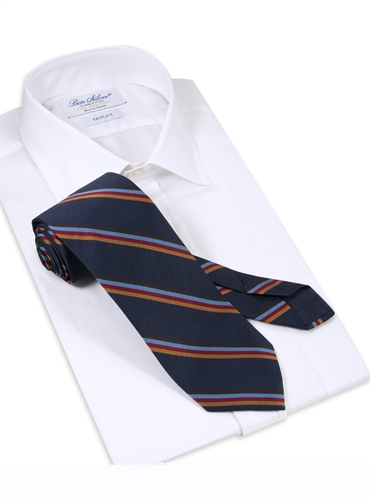Silk Multi-Stripe Tie in Navy