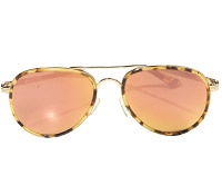 Tortoise Aviator Sunglass with Rose Gold Lenses