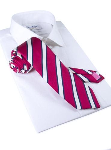 Mogador Silk Stripe Tie in Magenta